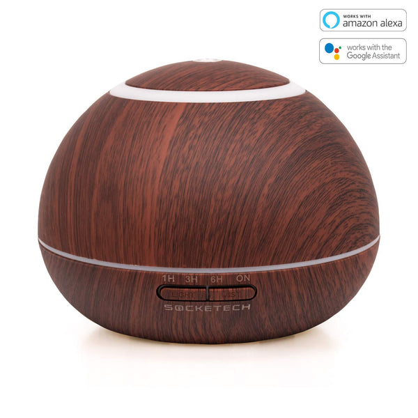 SOCKETECH ST17K 300ml Smart Wireless Essential Oil Aromatherapy Diffuser - Works with Alexa&Google Home,APP and Voice Control - Dark Wood Grain