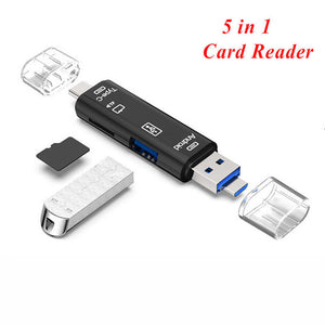 Type C & Micro USB 5 In 1 OTG Card Reader Flash Drive High-speed USB2.0 Universal OTG TF/SD Card for Android phone Computer