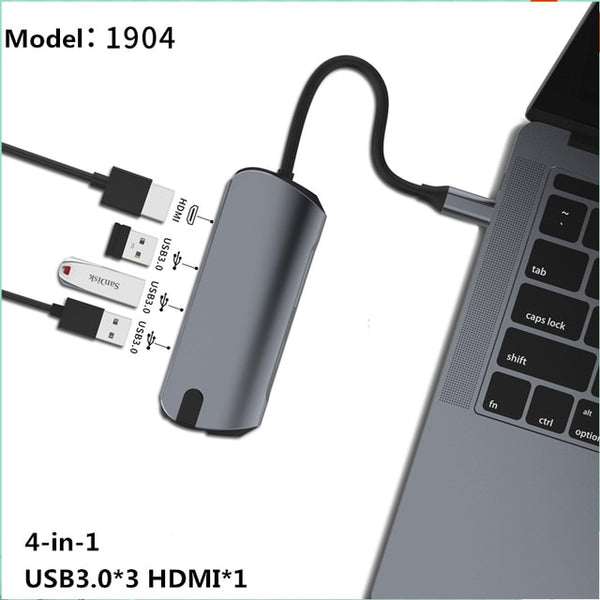 USB Type C HUB With HDMI RJ45 PD Charge SD Card Reader USB-C Hub Type-C Plitter For Macbook Pro Laptop Accessories Multi HUB