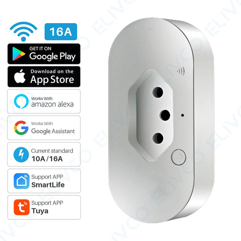 Smart Power Plug WiFi Brazil Intelligent Outlet With Energy Monitor Timing Tuya APP Remote Control Works With Alexa Google Home