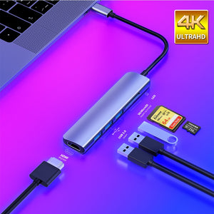 USB 3.1 Type-C Hub To HDMI Adapter 4K Thunderbolt 3 USB C Hub with Hub 3.0 TF SD Reader Slot PD for MacBook Pro/Air/Huawei Mate