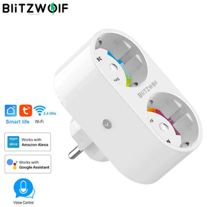 BlitzWolf 16A 2 IN 1 Dual EU Plug Smart WIFI Socket power adapter smart plug socket outlet Remote Control Timer Work with Alexa