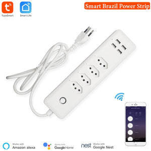 Wifi Brazil Smart Power Strip Surge Protector 4 Brazil Plug Outlets Electric Socket with USB App Voice Remote Control by Alexa