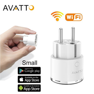 AVATTO Mini Standard 16A EU Smart Wifi Plug with Power Monitor, Smart Socket Outlet Works with Google Home, Alexa Voice Control