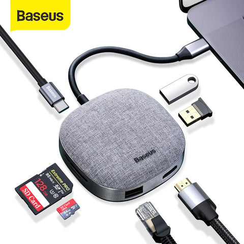 Baseus USB C HUB Type C to HDMI RJ45 USB 3.0 USB HUB for MacBook Pro USB C Dock SD Card Reader Fabric USB Adapter Type C HUB