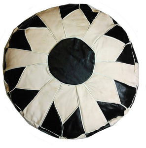 Black / white Leather Pouf