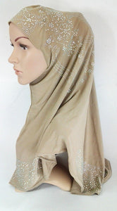 One-Piece Rhinestone Muslim Hijab Fashion Islamic Scarf Viscose CrystalHemp