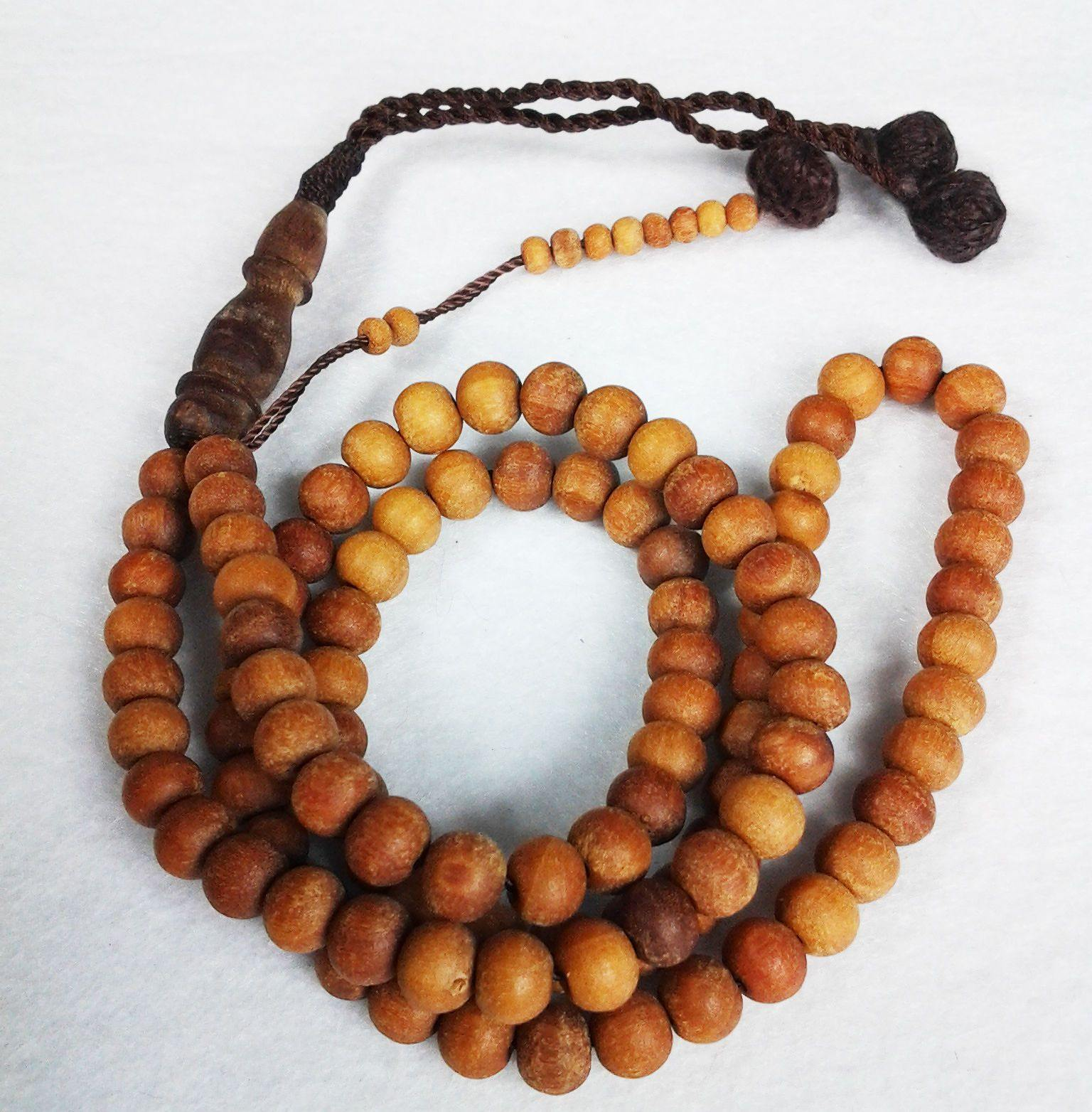 Natural Sandalwood Islam Muslim Prayer Beads 99 Masbaha 8mm Smell-so-good