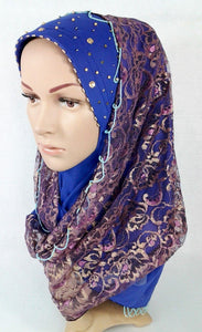 New Lace NET Yarn RhineStone Elegant Loop Hijab Islamic Headwear Scarf Shawls