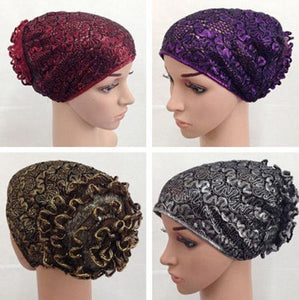 High Quality Double-Lace Flower UnderHijab Muslim Hijab Caps Islamic Underscarf