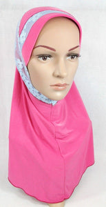 High Quality Viscose Lycra Lace Muslim Hijab Islamic Scarf Shawls Slip-on