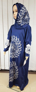 Girls Maxi Silver Print Dress Kids Long Sleeve Holiday Abaya Islamic 6-14T