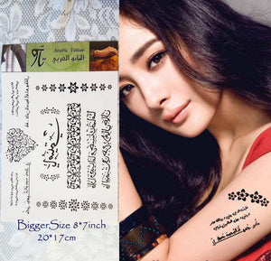NEW Arabic Muslim Tattoo Stickers Temporary Body Art BiggerSize 20*17cm(8*7inch) - Arabian Shopping Zone