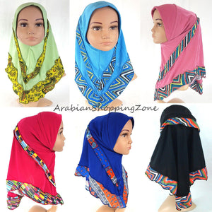 Crystal Hemp Kids Toddler Children Islamic Hijab Islamic Scarf Shawls -0102