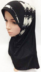 Viscose Ice Silk Lace Black Muslim Hijab Islamic Scarf Shawls