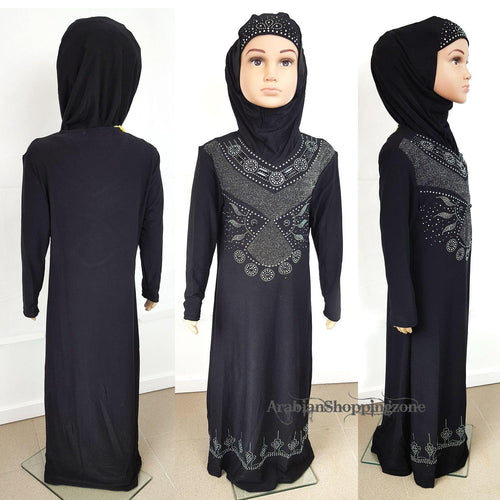 Classic Girls Muslim Dress Kids Long Sleeve Abaya Islamic 3-12T
