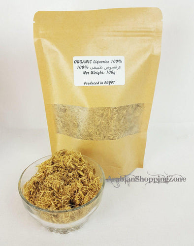 Natural Licorice root - Glycyrrhiza glabra- Organic dried tea herb 100g (3.5Oz) - Arabian Shopping Zone