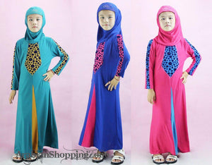 Children Girls Muslim Dress Kids Long Sleeve Abaya Islamic 4-14T