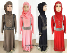 Stylish Girls Muslim Dress Kids Long Sleeve Abaya Islamic 4-12T