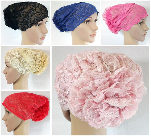 NEW Full Lace Muslim Inner Hijab Caps Flower-Back Islamic Underscarf Hats - Arabian Shopping Zone