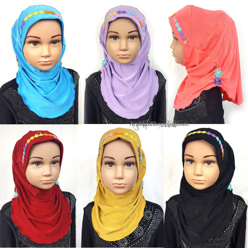 Crystal Hemp Toddler Kids Children Hijab Islamic Scarf Shawls -9397