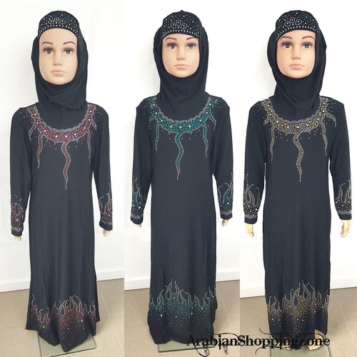 Girls Muslim Dress Kids Long Sleeve Holiday Abaya Islamic 3-12T