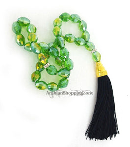 Islamic Salah 12mm Emerald Crystal Prayer Beads 33 Mesbaha