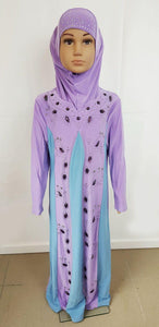Girls Muslim Dress Kids Long Sleeve Abaya 2-12T