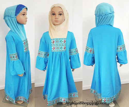 High Quality Children Girls Dress Kids Long Sleeve Holiday Abaya 6-12T - Arabian Shopping Zone