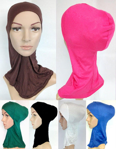 Women's Under Scarf Hat Cap Bone Bonnet Hijab Islamic Neck Cover Muslim