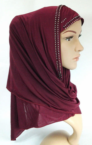 NEW Slip On Instant Amira Style VISCOSE on-the-go Hijab Scarf ASZ0104