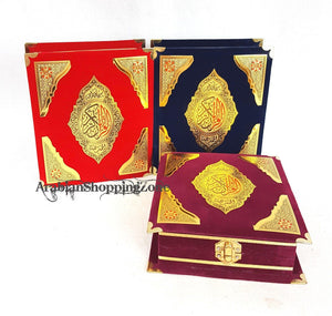 "Holy Quran Koran Size 14x10cm (5.7*4"")  Arabic With Velvet Box"