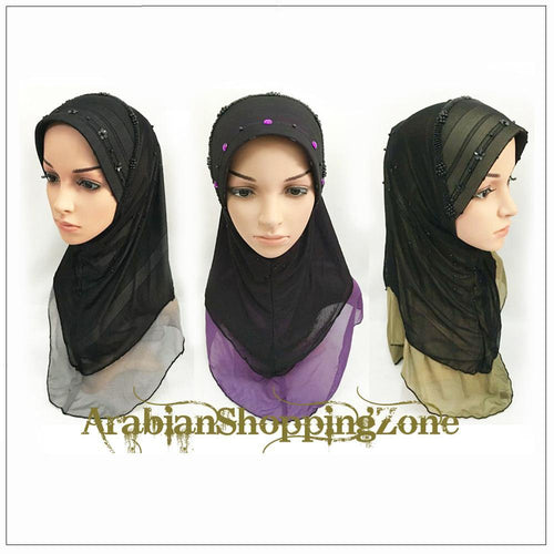 Slip-on LightWeight Double-Mesh-layered Muslim Hijab Islamic Scarf Shawls - Arabian Shopping Zone