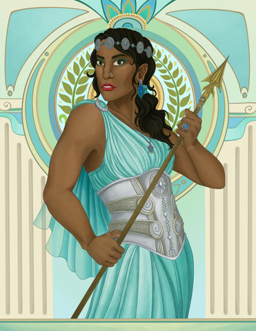 Illustration of Athena in a flowing mint green robe