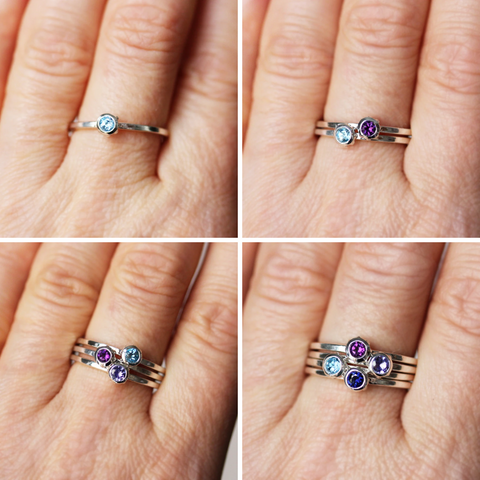 Mother's Day Birthstone Stacking Rings