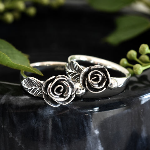 SIlver rose ring handmade metalsmithed jewelry