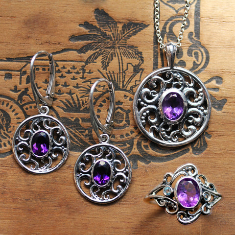 Swirly sterling silver jewelry with oval amethysts