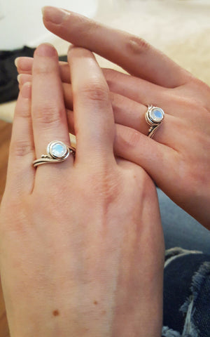 Moonstone Rainbow Rings