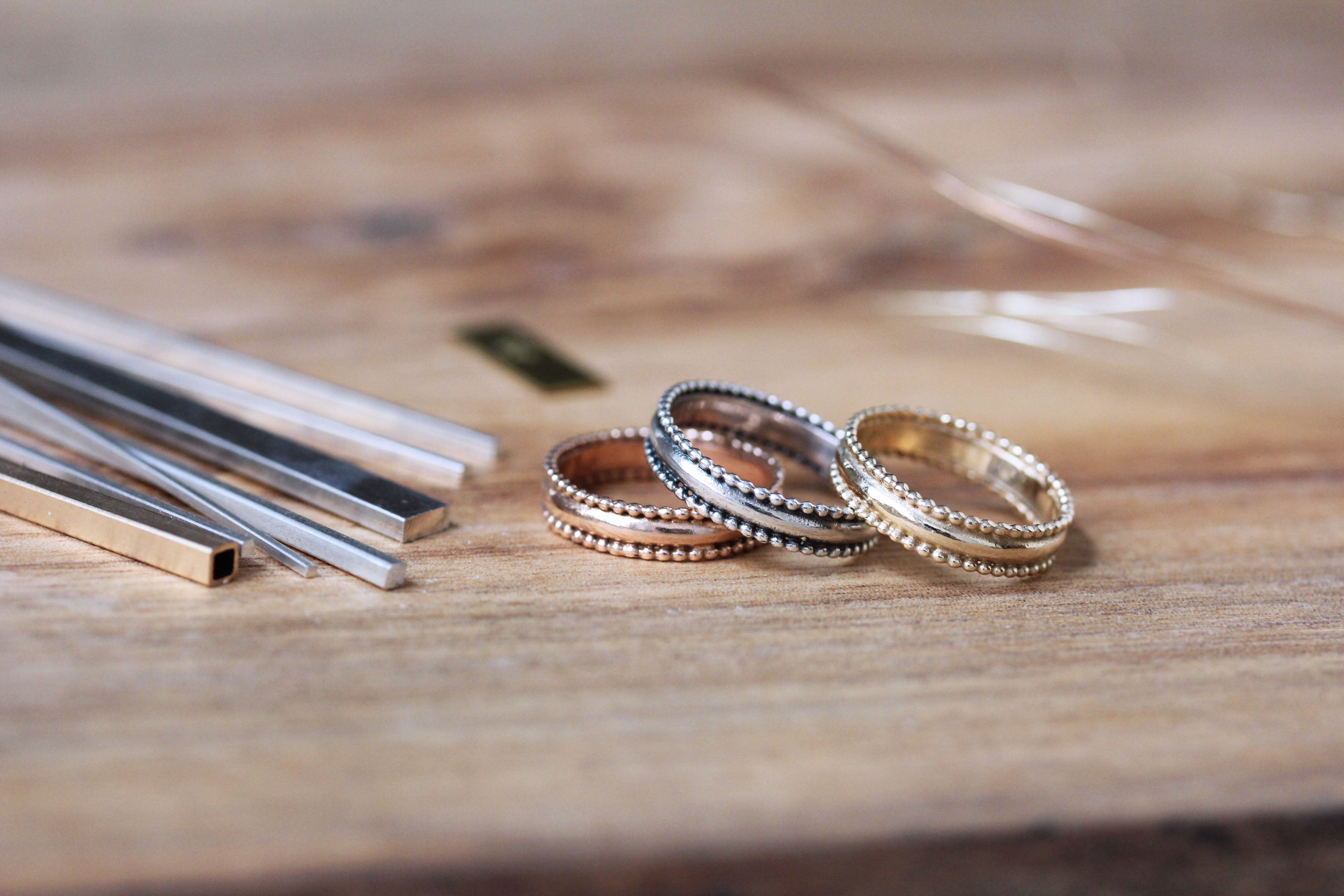 Rings in different metals