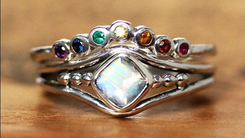 Rainbow Shadow Band and Moonstone Satellite Ring Set