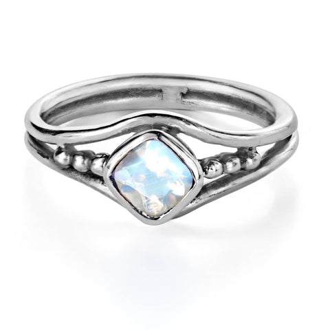 silver rainbow moonstone ring