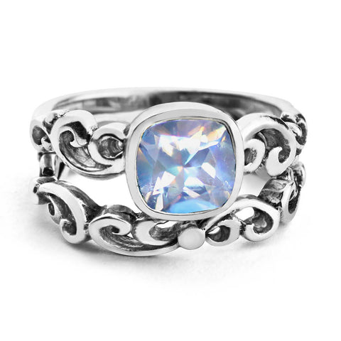 moonstone bridal ring set sterling silver
