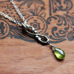 handmade-ethical-Wrought-Infinity-Peridot-Droplet-Necklace
