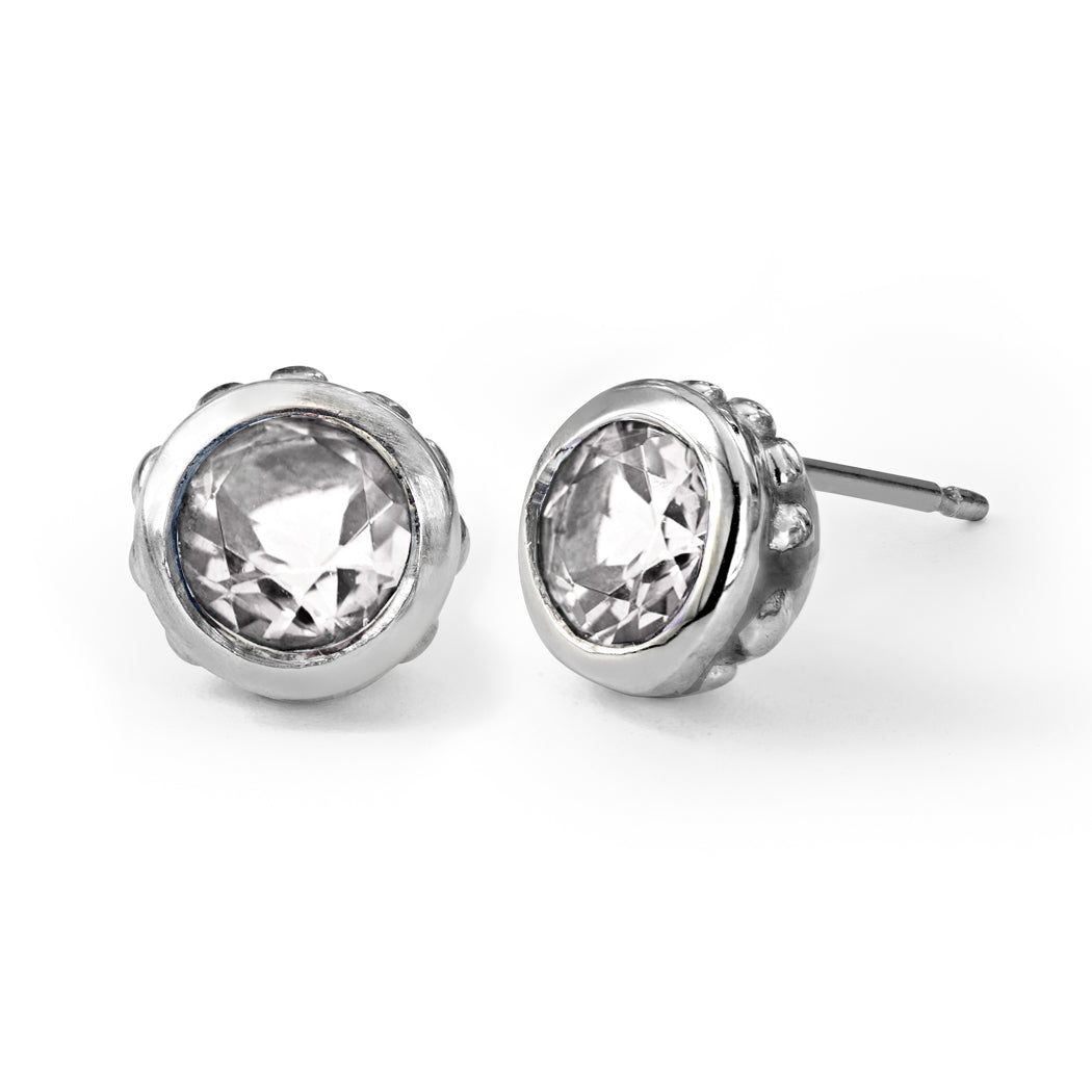 392d588f2 White Topaz Stud Earrings, Wrought sterling silver