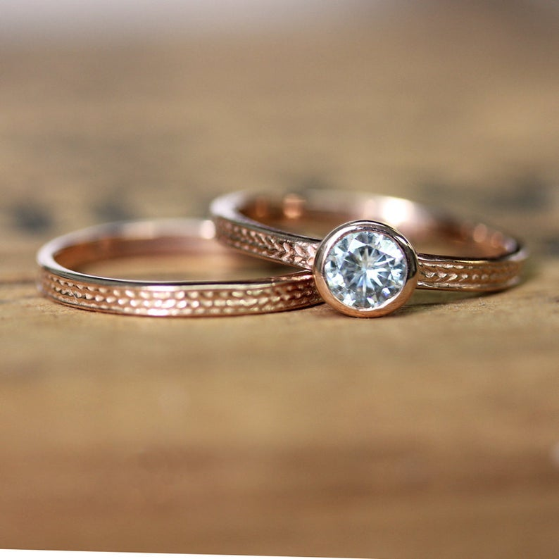 Moissanite Engagement Rings Rose Gold, Wheat