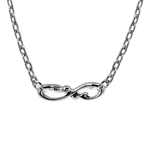 Sterling Silver Infinity Necklace, Handmade Wrought