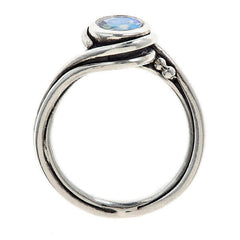 Gorgeous handmade rainbow moonstone ring with sterling silver from Metalicious