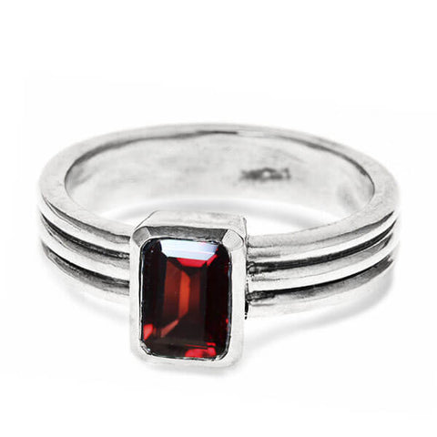 emerald cut red garnet ring