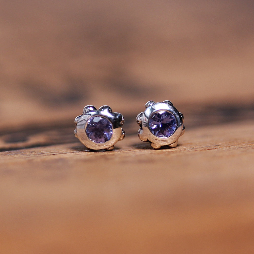 Purple Sapphire Stud Earrings - Wrought Collection