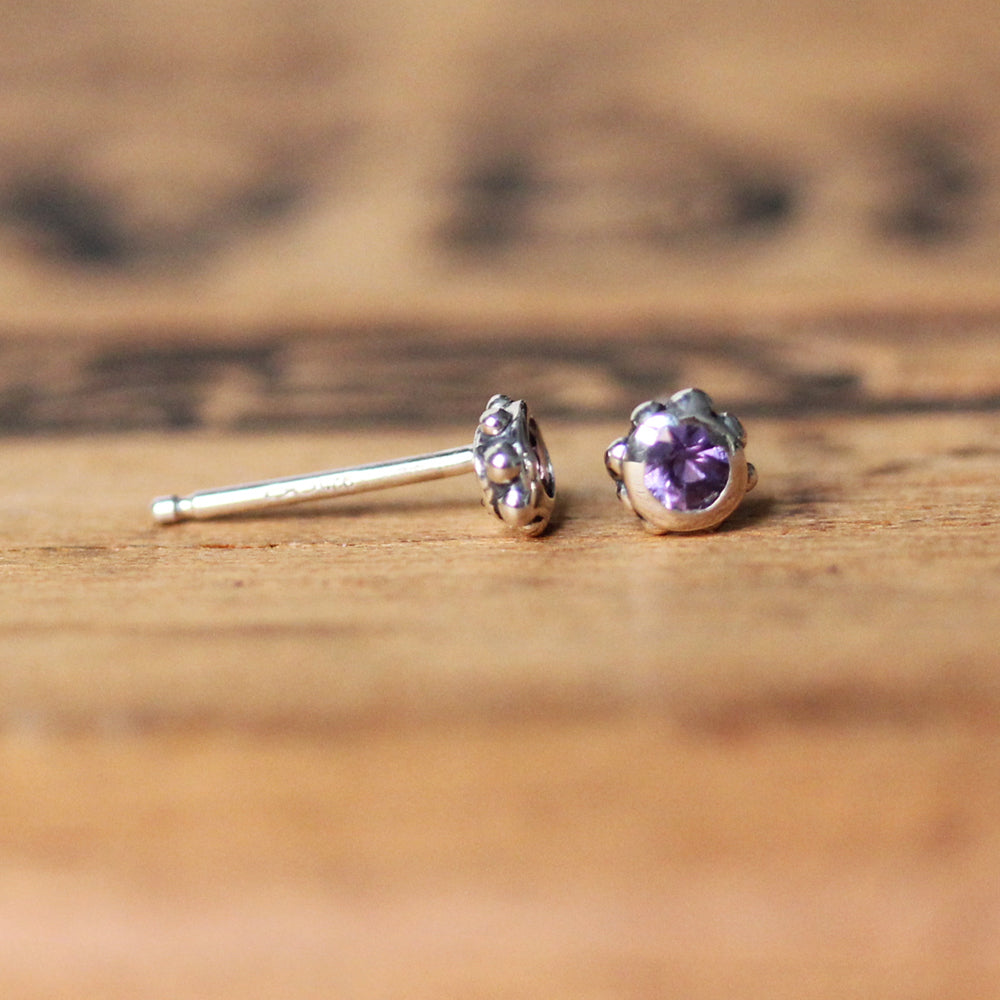 Lavender Sapphire Stud Earrings - Limited Edition
